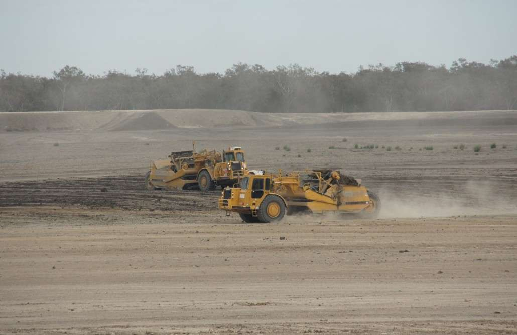 These machines move twelve cubic meters of dirt at a time.