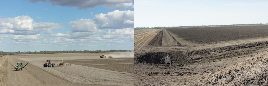 The before and after shots with the head ditches dug and pipes laid for the water.