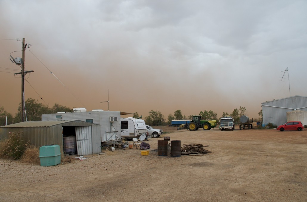 The storms go around us but we get the wind and dust.