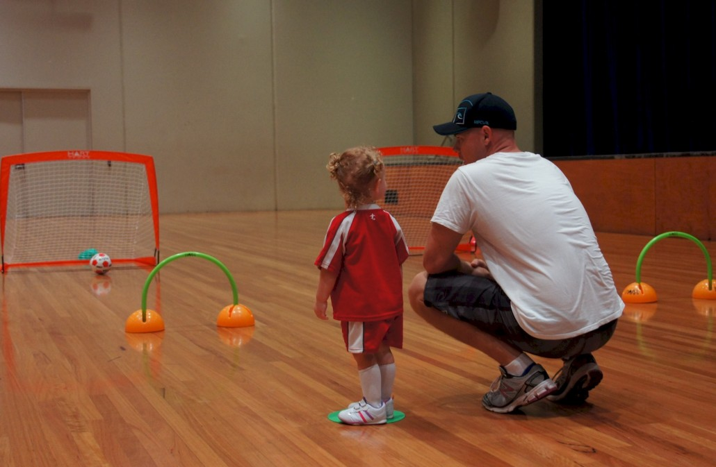 Elliana does Little Kickers once a week. It improves their motor skills, colour recognition and sportsmanship.