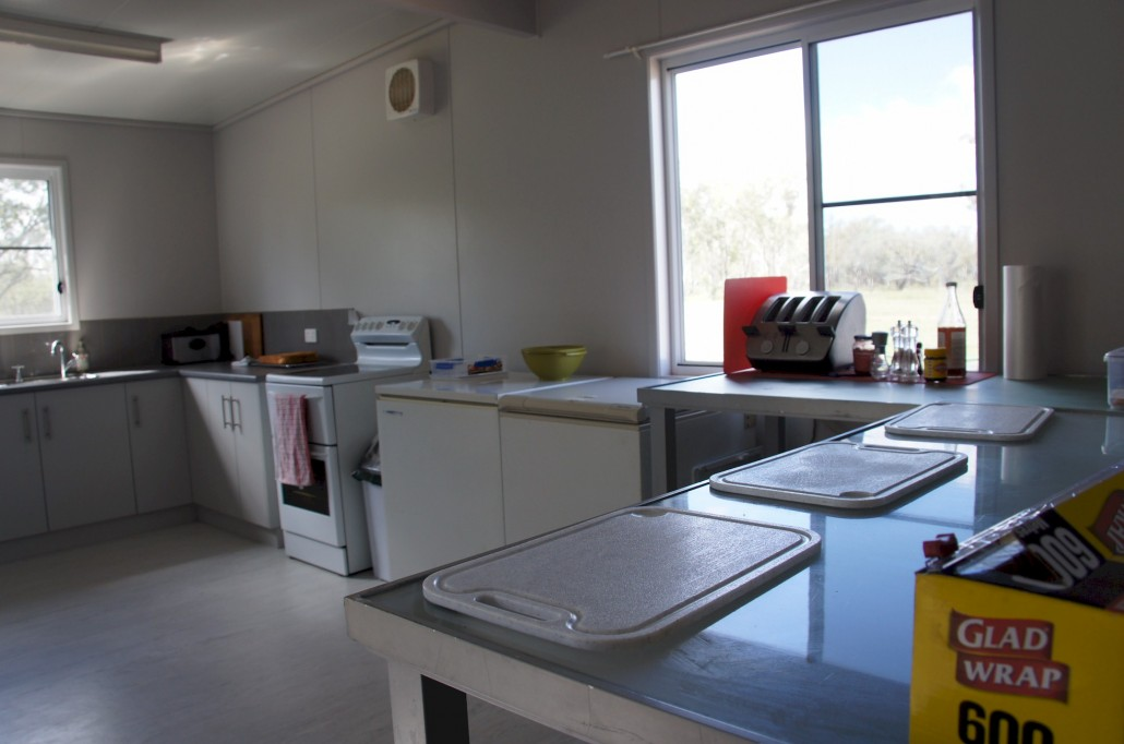 The kitchen and the serving area. Andrew had these benches that have come in very handy for crib lunch areas.