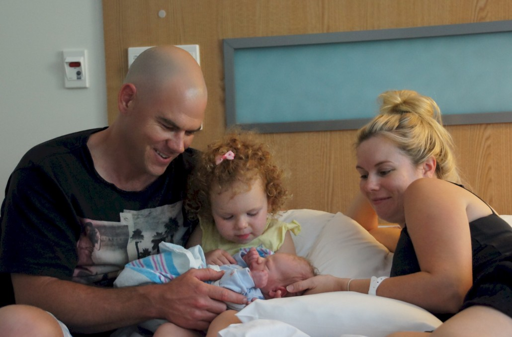 A very happy family of four now. For giving birth a few hours before Lacey looks great.