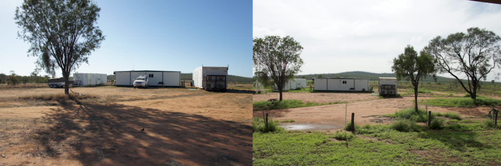 Camp before and after rain